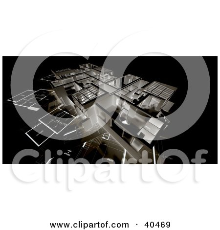 Clipart Illustration of a 3d Negative Floor Plan Background by Frank Boston