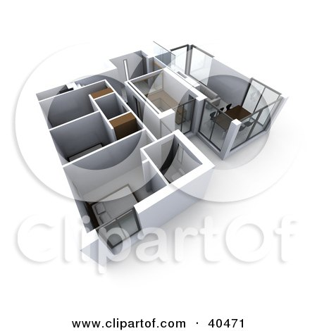 Clipart Illustration of a 3d Floor Plan Of A Flat Building With Commercial Rooms And Bedrooms by Frank Boston