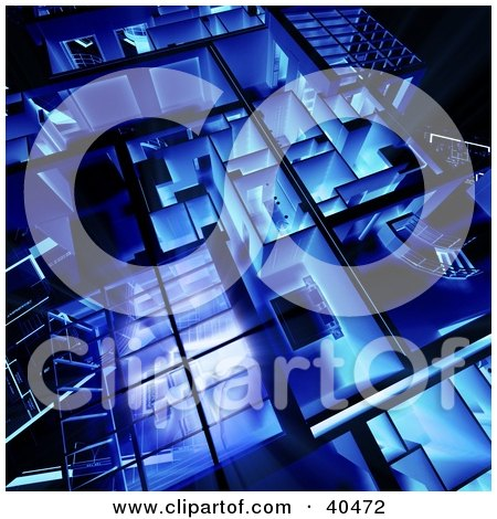 Clipart Illustration of a Blue And Glowing 3d Loft Apartment Floor Plan by Frank Boston