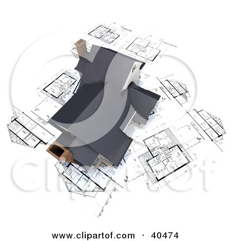 Clipart Illustration of a 3d Home With Chimneys On Blueprints by Frank Boston