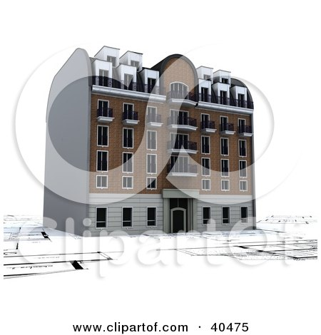 Clipart Illustration of a 3d Apartment Building On Blueprints by Frank Boston