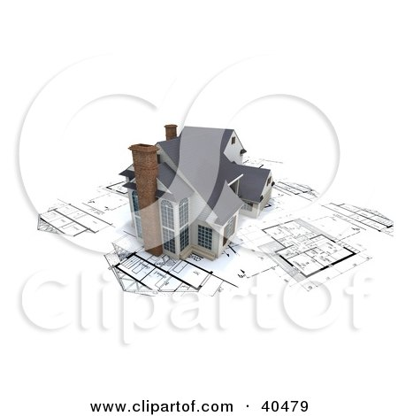 Clipart Illustration of a Model 3d Modern Home With Chimneys, On Blueprints by Frank Boston