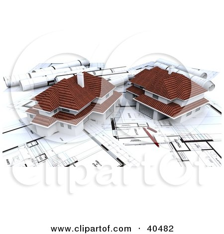 Clipart Illustration of 3d Neighborhood Houses On Blueprints by Frank Boston