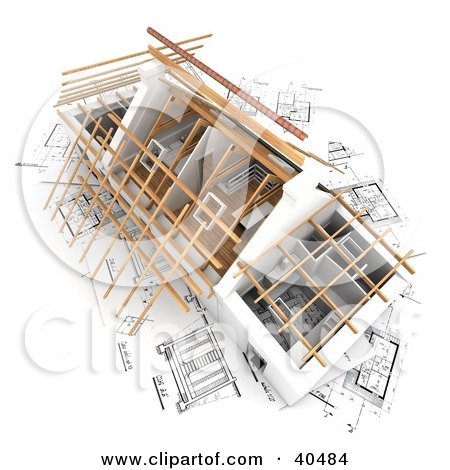 Clipart Illustration of a 3d House Prepped For A New Roof, On Top Of Blueprints by Frank Boston
