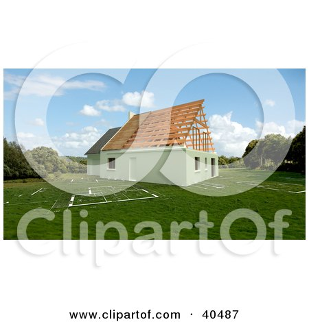 Clipart Illustration of a New 3d Residential House Under Construction On A Blueprint Lawn by Frank Boston