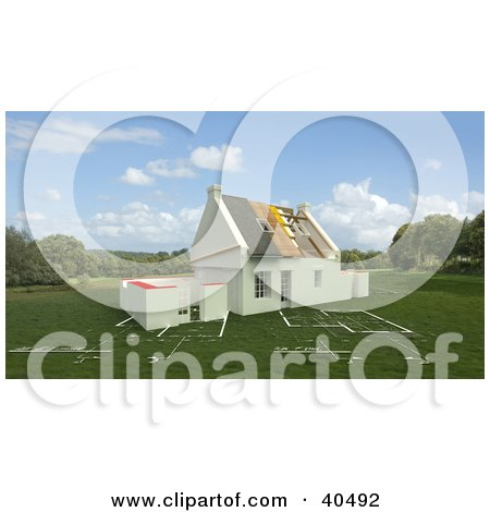 Clipart Illustration of a New 3d Home Under Construction On A Blue Print Lawn by Frank Boston