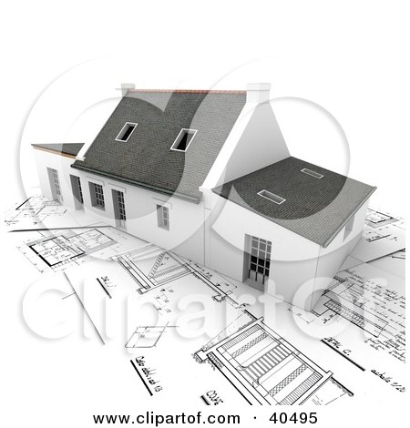 Clipart Illustration of a 3d Home With Skylights, Resting On Blueprints by Frank Boston