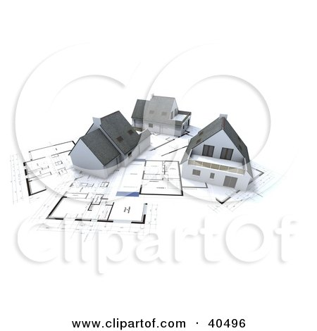 Clipart Illustration of Three 3d Homes On Blueprints by Frank Boston