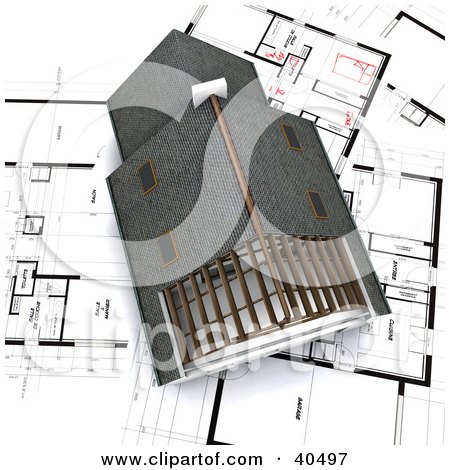 Clipart Illustration of an Aerial View Of A 3d House On Blueprint Papers by Frank Boston