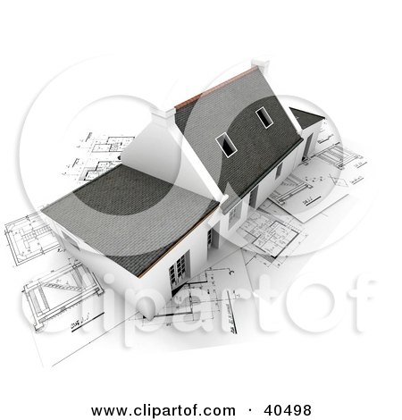 Clipart Illustration of an Aerial View Of A 3d Home With Skylights, Over Blueprints by Frank Boston