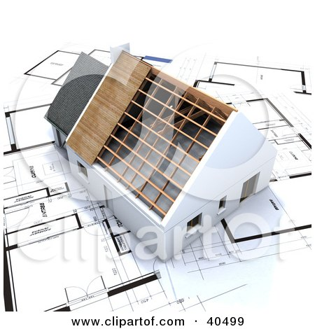 Clipart Illustration of a 3d Stick Built Home Without A Roof On Blueprints by Frank Boston