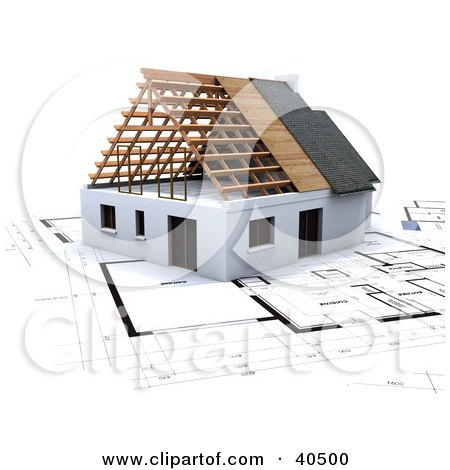 Clipart Illustration of a 3d House On Blue Print Plans by Frank Boston