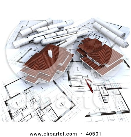 Clipart Illustration of Two 3d Houses On Blueprints by Frank Boston