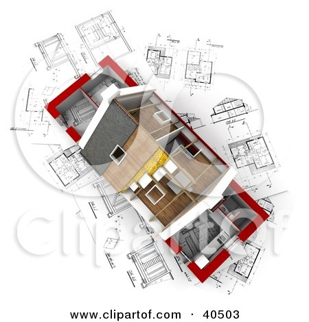 Clipart Illustration of an Aerial View Of A 3d Home With Partial Insulation And Roofing On Blueprints by Frank Boston