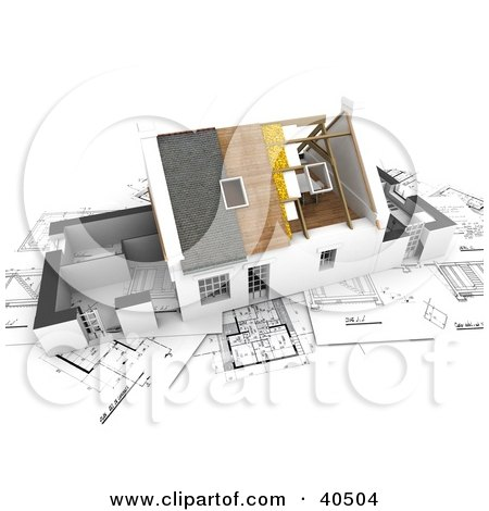 Clipart Illustration of a 3d House With Roofing And Insulation Being Installed, On Top Of Blueprints by Frank Boston