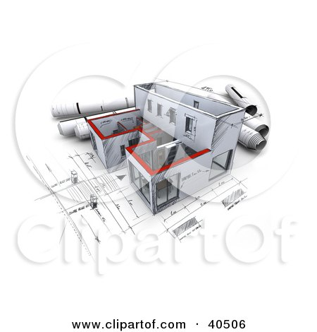 Clipart Illustration of a 3d Sketched Building With Rolled Blueprints by Frank Boston