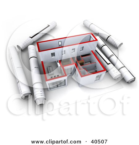 Clipart Illustration of Rolled Blueprints Beside A 3d Model Home by Frank Boston