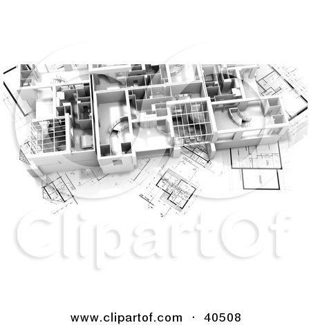 Clipart Illustration of a 3d Flat On Blueprints by Frank Boston