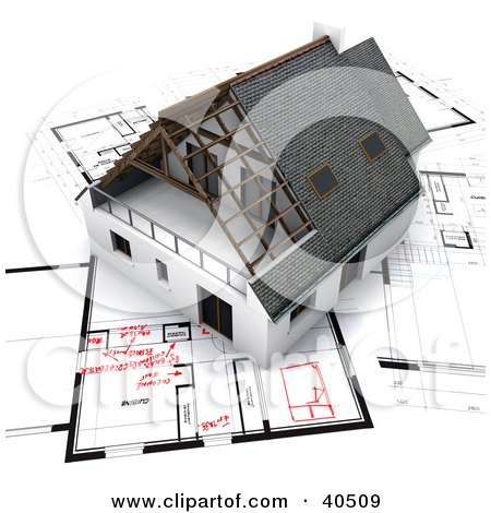 Clipart Illustration of a 3d Home On Blueprints With Red Adjustments by Frank Boston