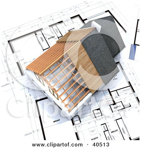 Clipart Illustration of a 3d Residential Home Model Over Blue Prints by Frank Boston