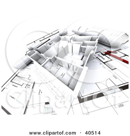 Clipart Illustration of a 3d Flat Home Model On Blueprints by Frank Boston