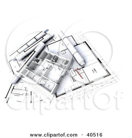 Clipart Illustration of a House Flat 3d Model On Blueprints by Frank Boston
