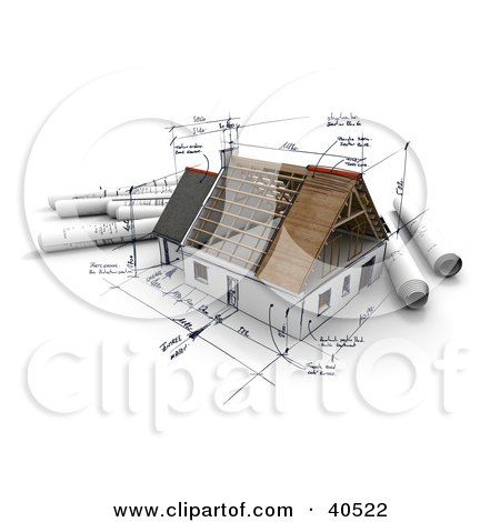 Clipart Illustration of Sketches And Notes Regarding Blueprints Of A Model 3d Home by Frank Boston