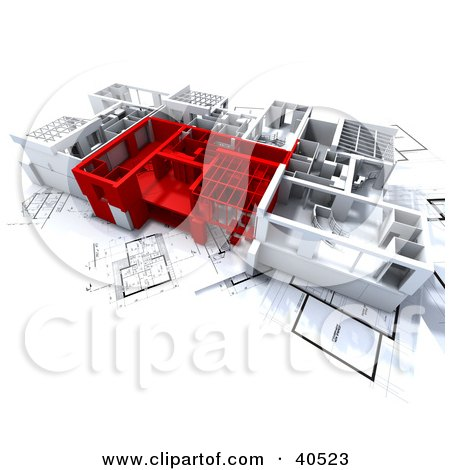 Clipart Illustration of Red And White 3d Home Floor Plans by Frank Boston