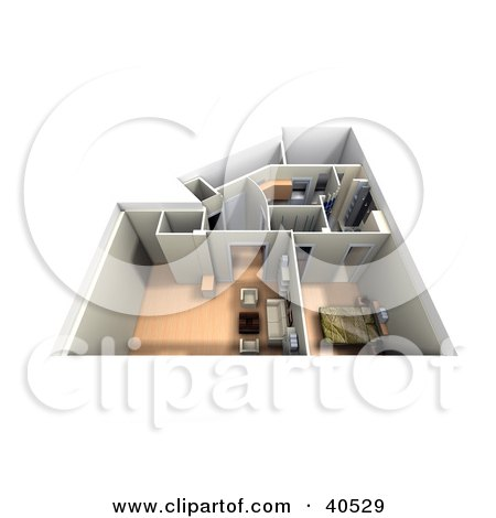 Clipart Illustration of an Aerial View Of A Furnished 3d Home Interior by Frank Boston