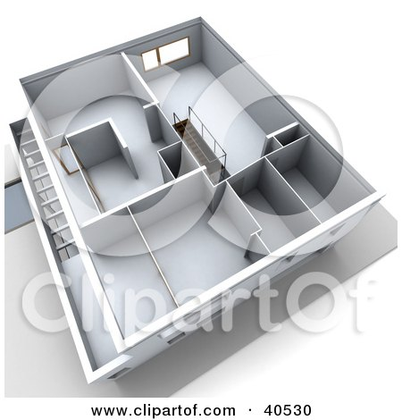 Clipart Illustration of a 3d Aerial View Of A Floor Plan With Empty Rooms by Frank Boston