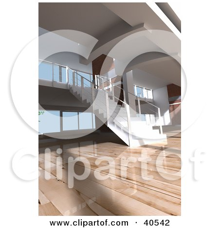 Clipart Illustration of a Modern Apartment Interior With Gorgeous Wooden Floors And A Staircase by Frank Boston