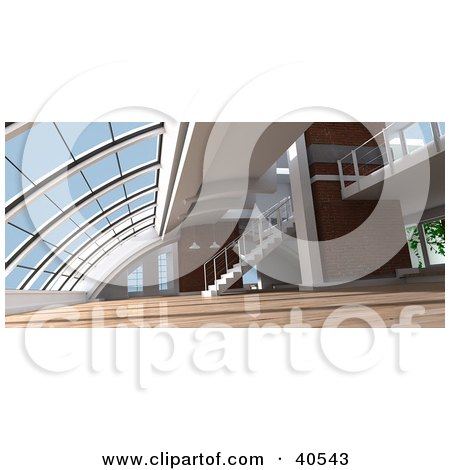 Clipart Illustration of an Open Modern Loft Interior With Skylights, Stairs And Wooden Flooring by Frank Boston
