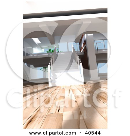 Clipart Illustration of a White Staircase In An Open Modern Apartment With Gorgeous Wooden Floors by Frank Boston
