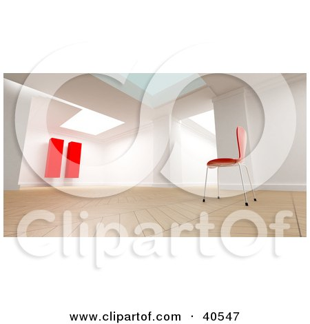 Clipart Illustration of a 3d Room Interior With A Single Red Chair Facing A Large Red Pause Sign, Symbolizing Relaxation And Reflection by Frank Boston