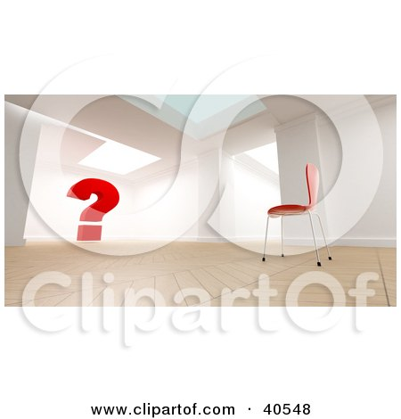 Clipart Illustration of a 3d Room Interior With A Single Red Chair Facing A Large Red Question Mark, Symbolizing Wonder And Confusion by Frank Boston