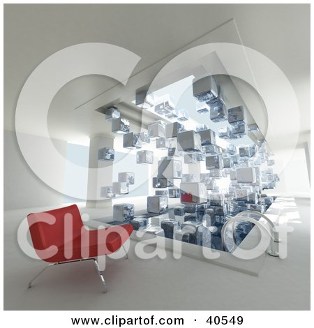Clipart Illustration of a 3d Red Bench Beside An Indoor Swimming Pool With 3d Cubes Of Ice Floating Off Of The Water's Surface by Frank Boston