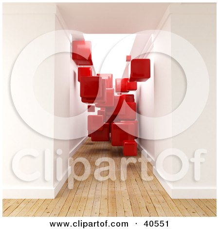 Clipart Illustration of a 3d Hallway With Aged Wooden Flooring, Filled With Floating Red Cubes by Frank Boston