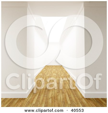 Clipart Illustration of a 3d White Walled Hallway With Aged Wooden Flooring, Leading To A Dead End by Frank Boston