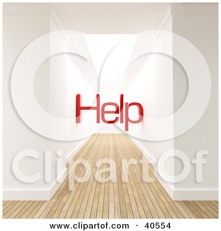Clipart Illustration of a 3d Hallway Interior With Wooden Flooring And Red Help At The End by Frank Boston