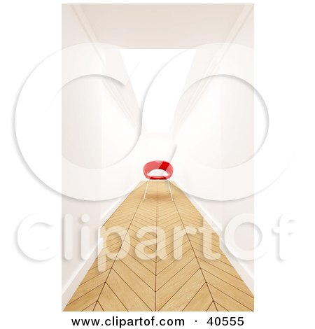 Clipart Illustration of a Red 3d Chair At The End Of A Hallway With Parquet Wood Flooring by Frank Boston