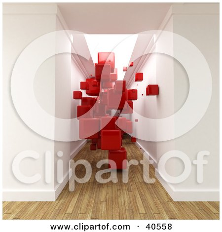 Clipart Illustration of a 3d Hallway With Aged Wood Flooring, Filled With Floating Red Cubes by Frank Boston