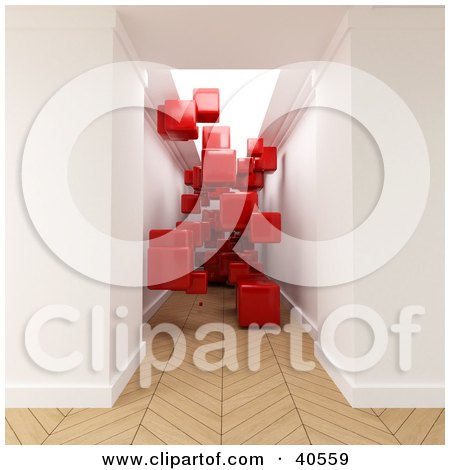 Clipart Illustration of Red 3d Cubes Floating In A Hallway With Parquet Wooden Flooring by Frank Boston