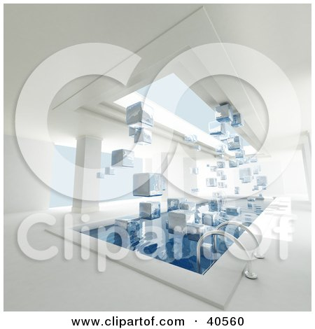 Clipart Illustration of a 3d Indoor Swimming Pool With Ice Cubes Floating Between The Water Surface And Sky Light. by Frank Boston