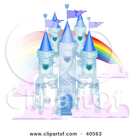 Clipart Illustration of a Blue Stone Castle In The Clouds, With Flags And A Rainbow by Pushkin