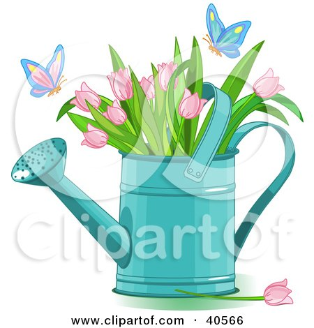 Clipart Illustration of Butterflies Landing On Pink Tulips In A Watering Can by Pushkin