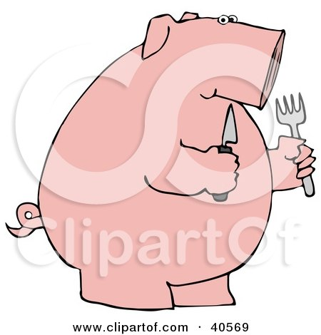 Clipart Illustration of a Hungry Pink Pig Holding A Knife And Fork by djart