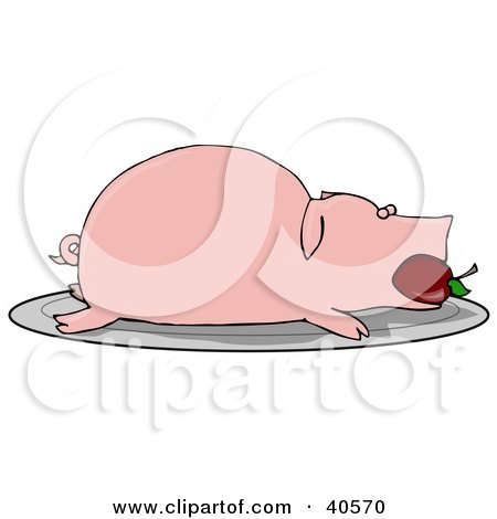 Clipart Illustration of a Roasted Pink Pig With An Apple In Its Mouth, Served On A Platter by djart