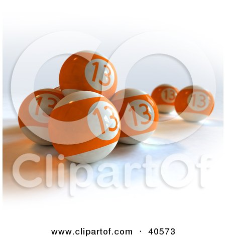 Clipart Illustration of Orange Lucky Thirteen Pool Balls by Frank Boston