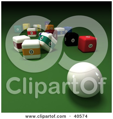 Clipart Illustration of a 3d Cue Ball On Green With Square Billiards Balls by Frank Boston