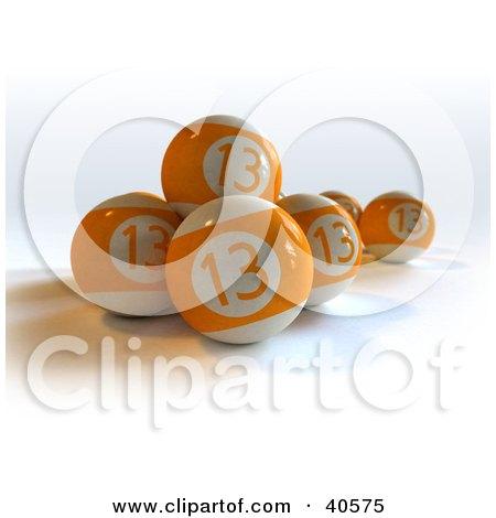 Clipart Illustration of Orange Lucky Thirteen Billiard Balls by Frank Boston